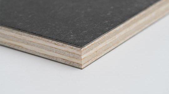 Black Galaxy Steinfurnier auf Balsasperrholzplatte, Steinoberfläche matt geschliffen