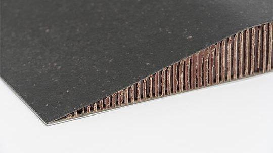 Black Galaxy Steinfurnier, laminiert auf einer Nomex® Papierwabe, Steinoberfläche matt geschliffen