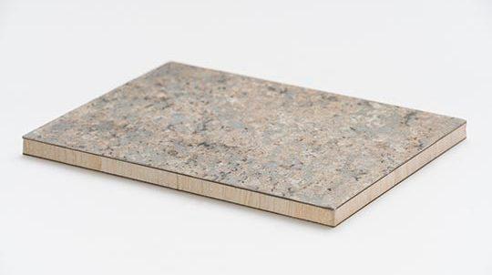 Giallo Veneziano Steinfurnier auf Balsaholz, Steinoberfläche matt geschliffen