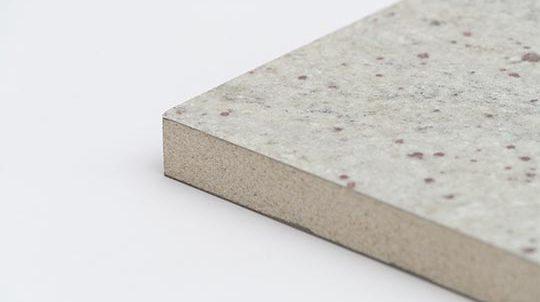 Kashmire Gold Steinfurnier auf Brandschutzplatte Vermiculit, Steinoberfläche matt geschliffen