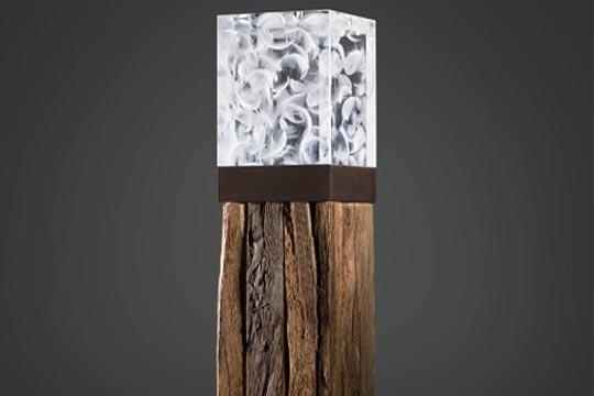 Lichtskulptur Acrylglas mit Federn