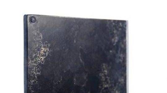Stein-Glas Laminat mit 1,0mm Brown Antique Steinfurnier laminiert auf Weissglas, Steinoberfläche poliert